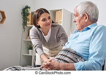 Looking after senior man