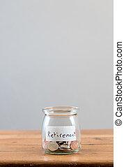 Loose change inside glass jar to represent retirement savings