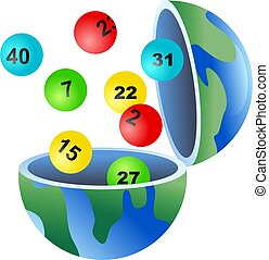 An open globe of the world with lottery balls coming out of it.