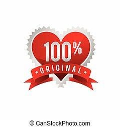 Love 100% Original, Stamp template symbol