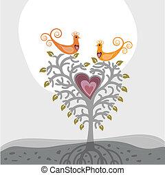 Love birds and heart shaped tree