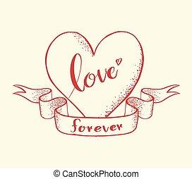 Love forever lettering on heart