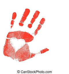Illustration of a hand-print with a heart. Vector available.