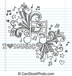 Love Music Sketchy Vector Doodles