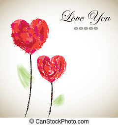 Card love with two flowers and hearts over brown background