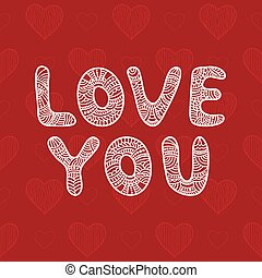 Inscription Love You. Vector funny letters