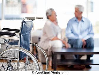 Lovely retired couple talking