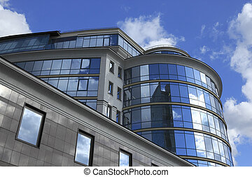 Low angle view of a modern commercial building