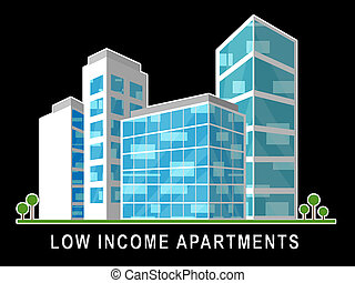 Low Income Apartments And Condos Building Demonstrating High Rise Real Estate - 3d Illustration