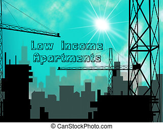 Low Income Apartments And Condos Cityscape Demonstrating High Rise Real Estate - 3d Illustration