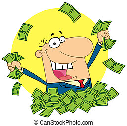 Happy Caucasian Man In A Pile Of Cash, Holding And Throwing Money
