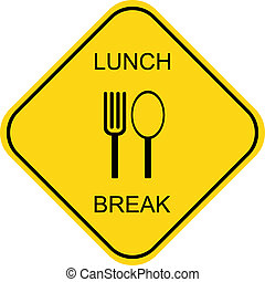 Lunch break - yellow and black vector icon, sign