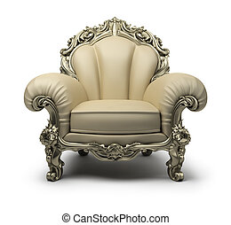 Luxury armchair of beige colour, with a silver decor. 3d image. Isolated white background.