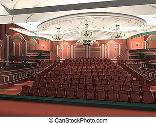 Luxury audience hall.3d rendering.