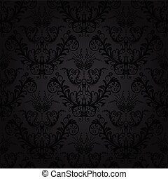 Luxury charcoal floral wallpaper. This image is a vector illustration