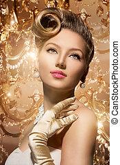 Luxury Styled Beauty Lady Portrait. Retro Woman
