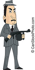 Mafia Man Machine Gun