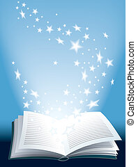 Open magic book with flying shining stars