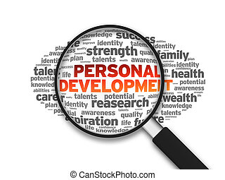 Magnified illustration with the word Personal Development on white background.