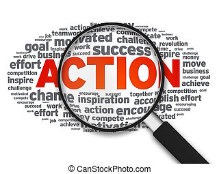 Magnified illustration with the word Action on white background.