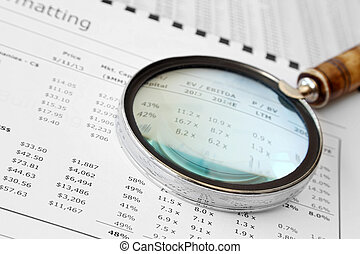 Magnifying Glass Over Financial Doc