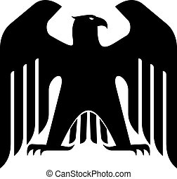 Silhouette of a black majestic eagle with its wings raised and head in profile isolated on white for heraldry design