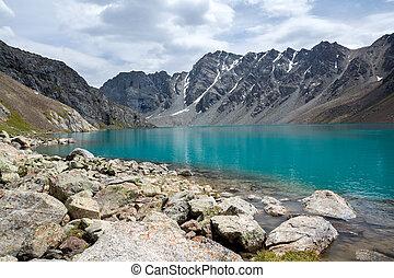 Majestic lake Ala-Kul, Tien Shan mountains, Kyrgyzstan