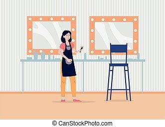 Makeup artist in studio interior - cartoon woman in backstage room