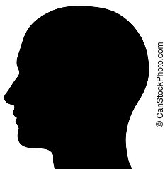 A render of a male head silhouette. Isolated on a solid white background.