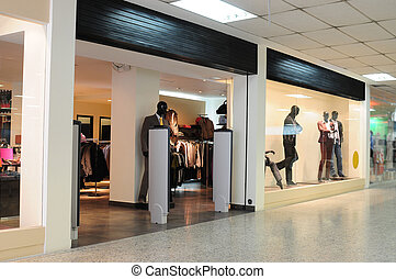 Clothing store in a shopping center.