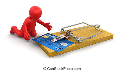 Man and mousetrap with Credit Cards