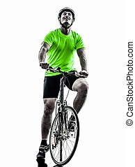 man bicycling mountain bike silhouette