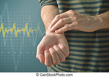 Man checking pulse with fingers