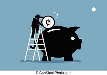 Vector artwork depicts money saving, investment, and wealth management.