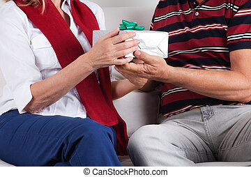 Man Giving Gift to His Wife