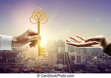 Man handing key