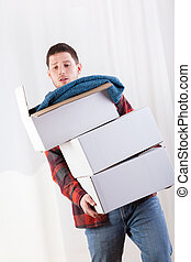 Man has a problem with boxes