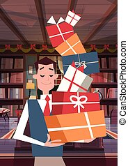 Man Holding Pile Of Gift Boxes Walking Through Living Room Holiday Presents Concept Vertical Banner