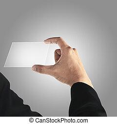 Man holding transparant card