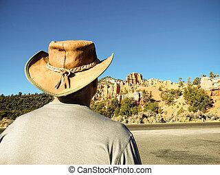 Man in Australian bush hat in California