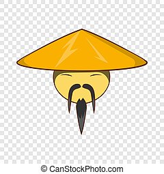 Man in chinese conical hat icon, cartoon style