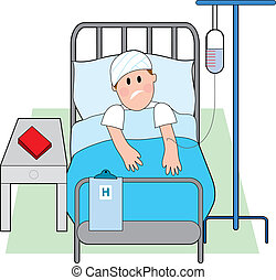 Sick man in hospital bed with intravenous