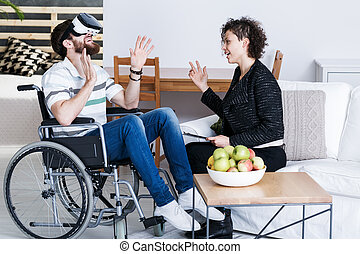 Man in VR talking to therapist