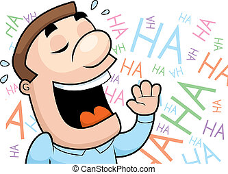 A happy cartoon man laughing and smiling.