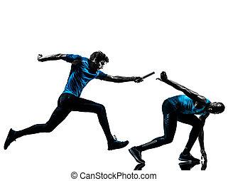 man relay runner sprinter silhouette