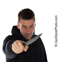 Man threatening with a large knife isolated on white