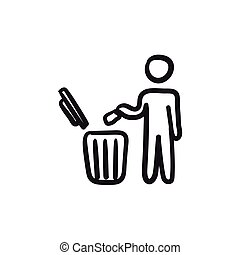 Man throwing garbage in a bin sketch icon.