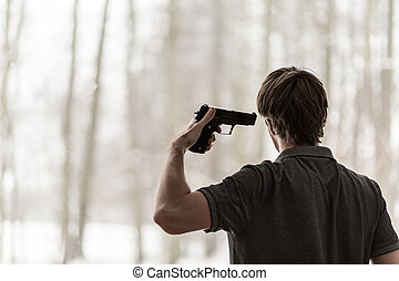 Man trying to shoot himself