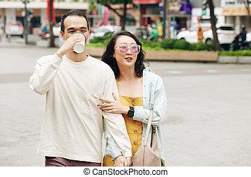 Man walking with girlfriend