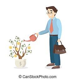 Man watering money tree.